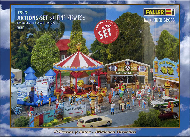 Faller 190070 - Set kit feria: Carrusel, castillo inflable y casetas